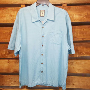 Men's Jamaica Jaxx Off Shore Blue 100% Silk Shirt